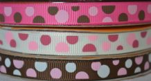 10mm COLOURFUL POLKA-DOTS (size 4-6mm diameters)  GROSGRAIN RIBBONS